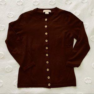 Michael Kors Coffee Brown Wool Cardigan Medium